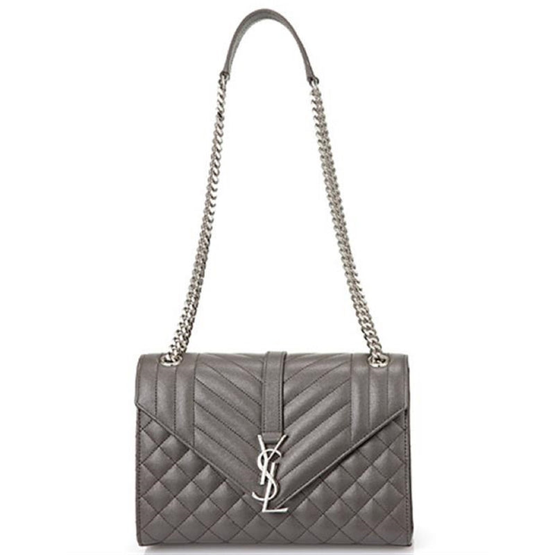Saint Laurent YSL Women's Earth Gray with Silver Hardware Medium Envelope Chain Shoulder Bag 428134