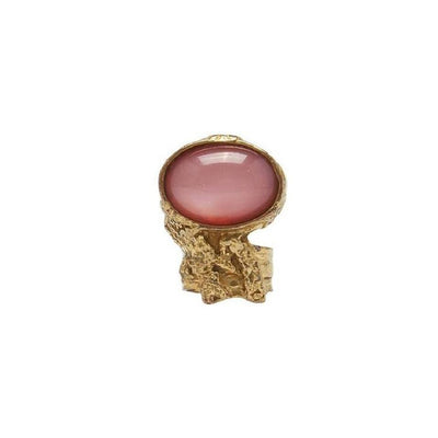 Saint Laurent YSL Women's Ovale Oval Pink Glass Set  Gold Ring Size 4 196994