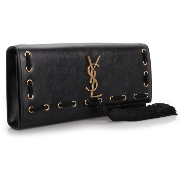 Saint Laurent YSL Women's Black Puccino Volana Clutch 332643 Handbags Saint Laurent