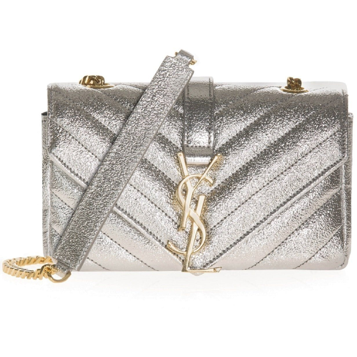 Saint Laurent YSL Women's Erosion Metallic Beige Mini Crossbody 399289
