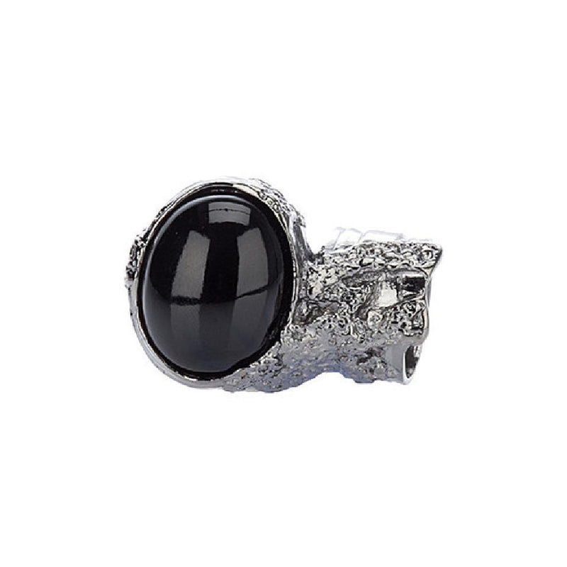 Saint Laurent YSL Women's Ovale Oval Black Silver Ring Size 5 304215 Jewelry Saint Laurent Default Title