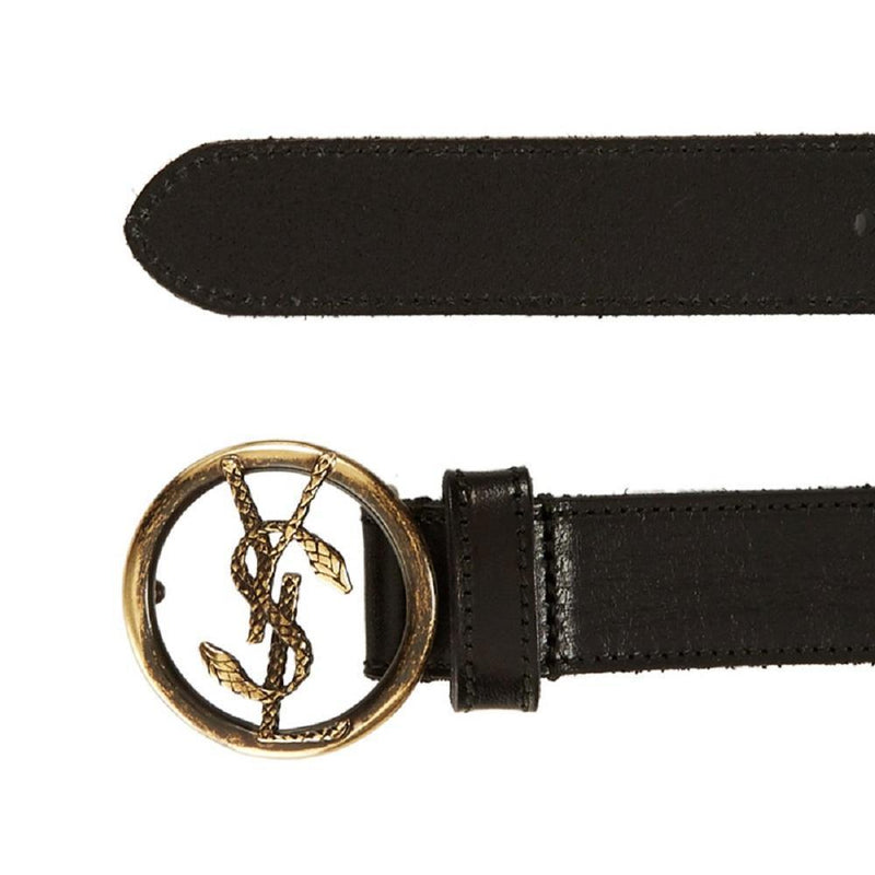 Saint Laurent YSL Womens Serpent Belt Vegetal Deep Nero Black 423971 Belts Saint Laurent