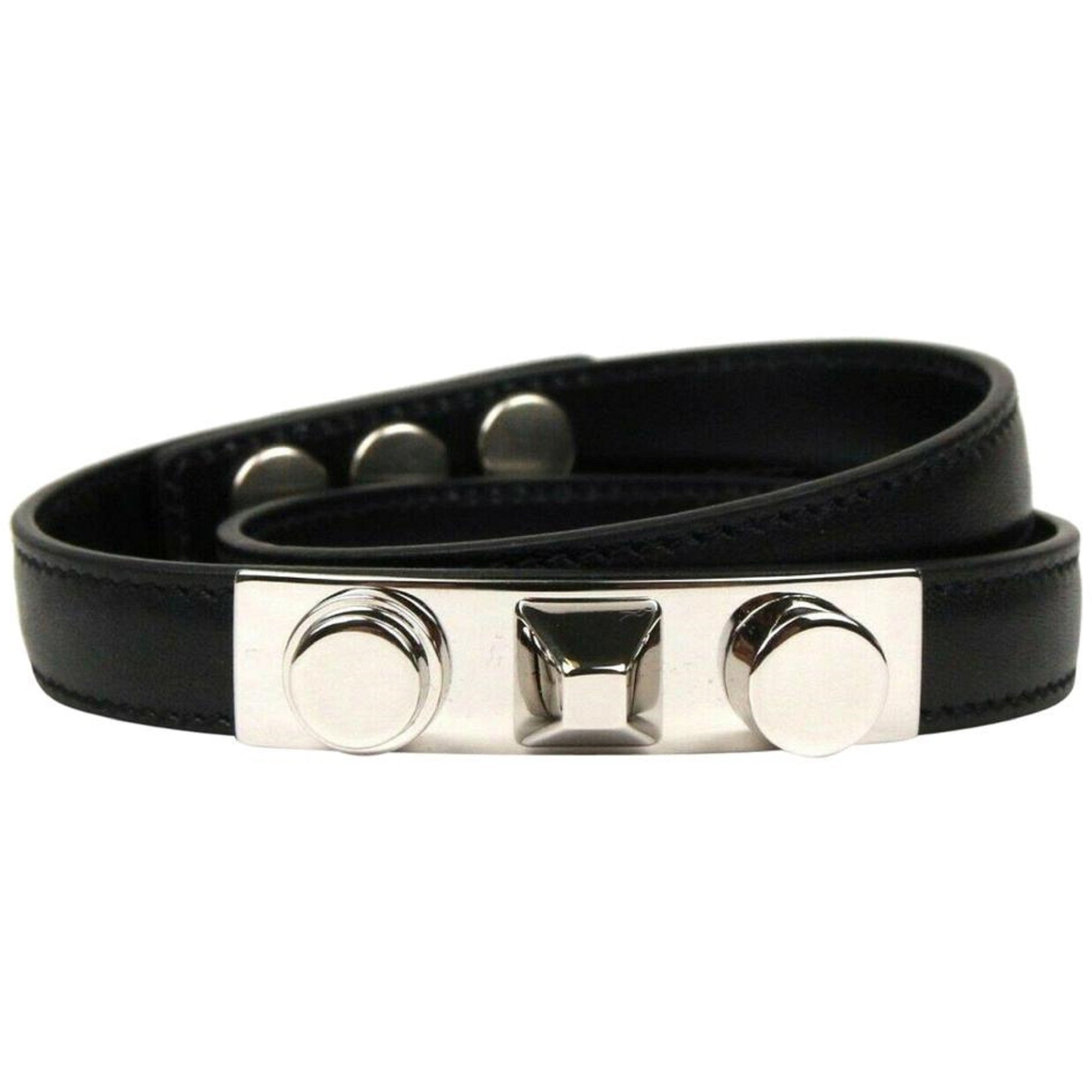 Saint Laurent YSL Wrap Bracelet Silver Tone Studs Black Leather Medium 420121