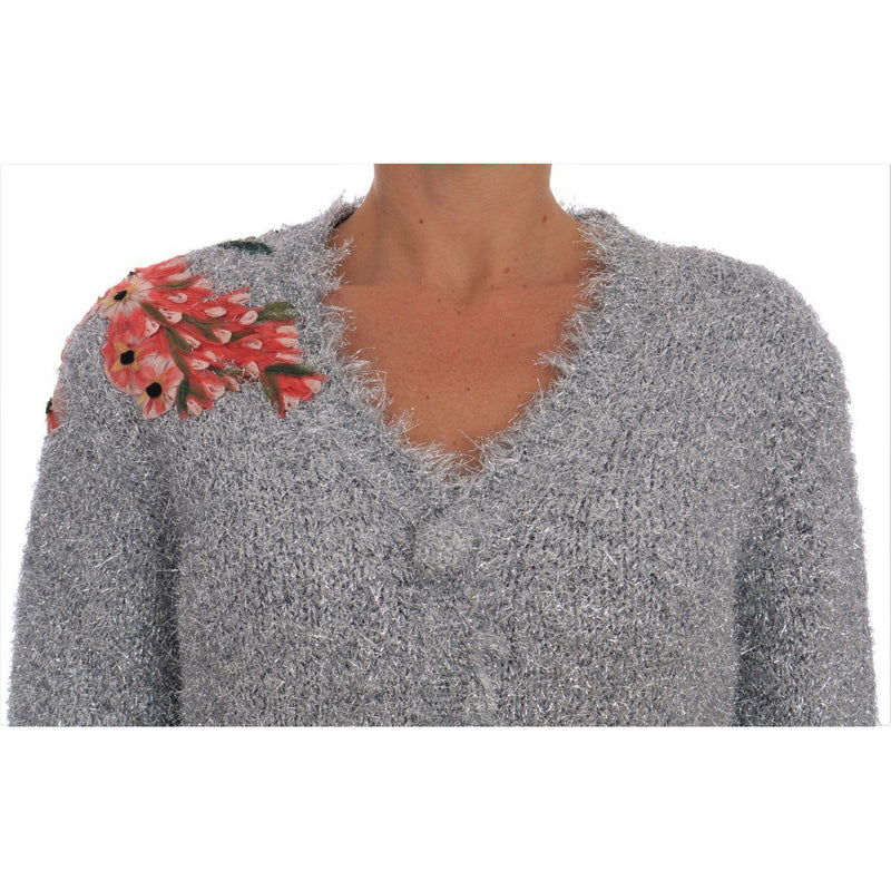 Silver Cardigan Floral Applique Sweater