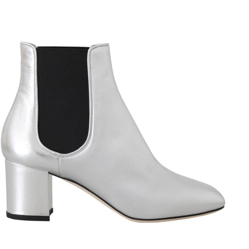 Silver Leather Chelsea Ankle Boots