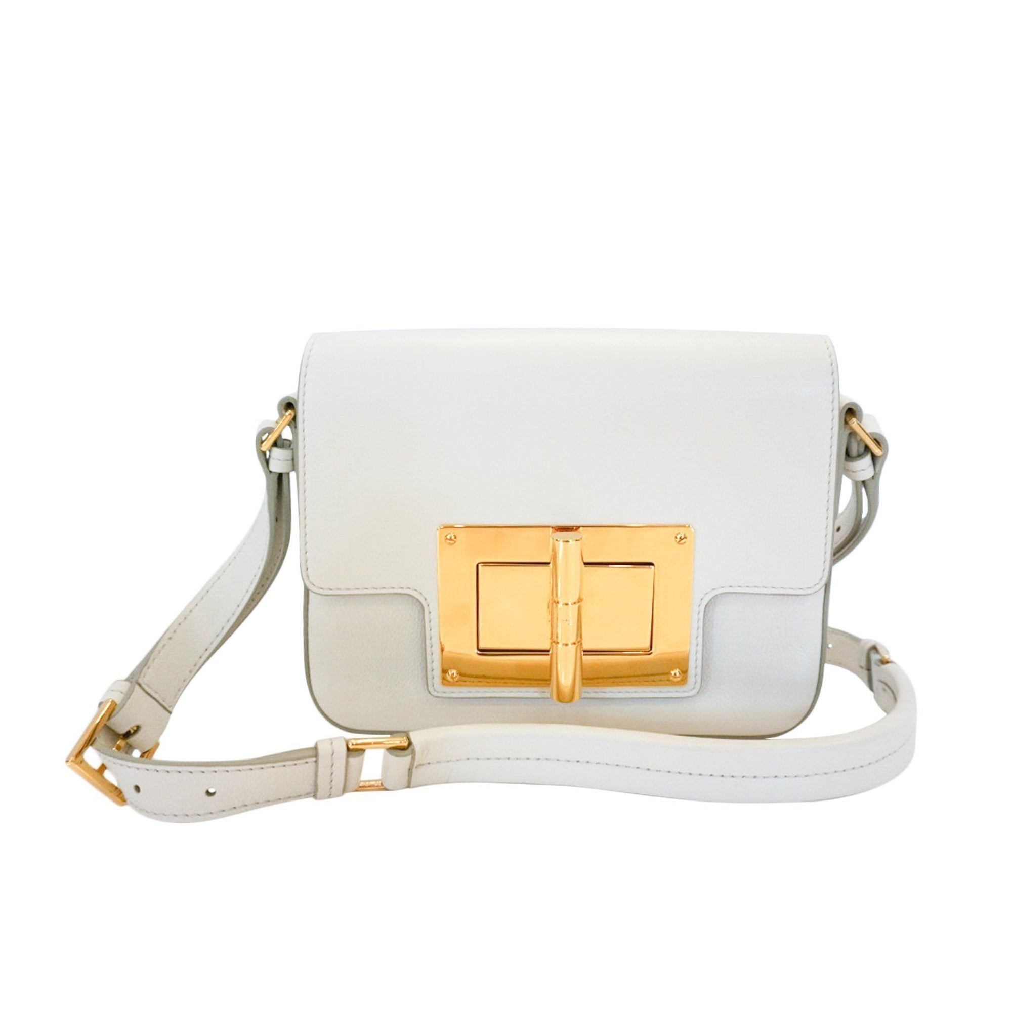 Tom Ford  Classic Day Medium Natalia Day Bag White Leather Shoulder Bag L0820T