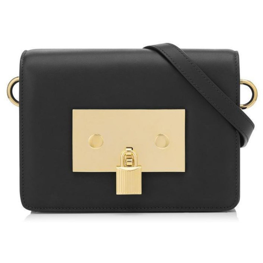 Tom Ford Classic Padlock Day Bag Black Leather Shoulder Handbag L0995T