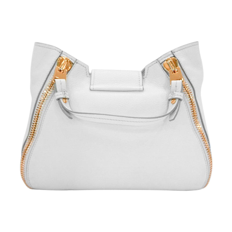 Tom Ford Sedgwick Bag White Leather Gold Latch Handbag L0746T
