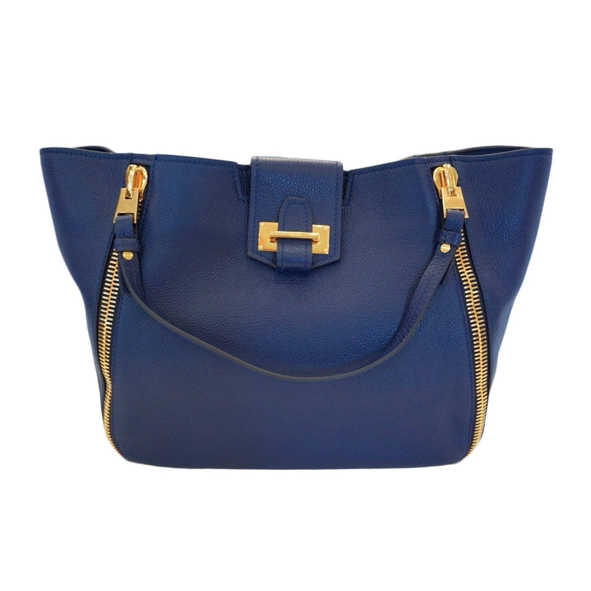 Tom Ford women's Sedgwick Tote Handbag Royal Blue Leather Handbag L0680T