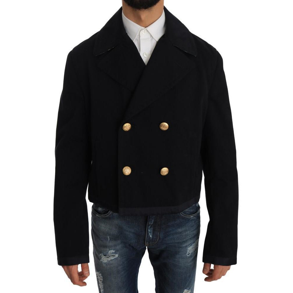 Trench Blue Cotton Stretch Jacket Coat Dolce & Gabbana