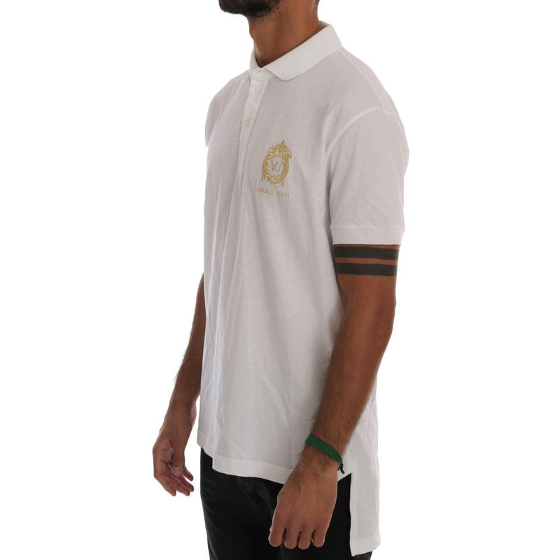 White Cotton Short Sleeve Polo T-Shirt Versace Jeans
