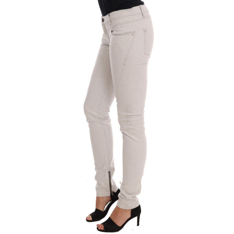 White Cotton Stretch Slim Jeans Costume National