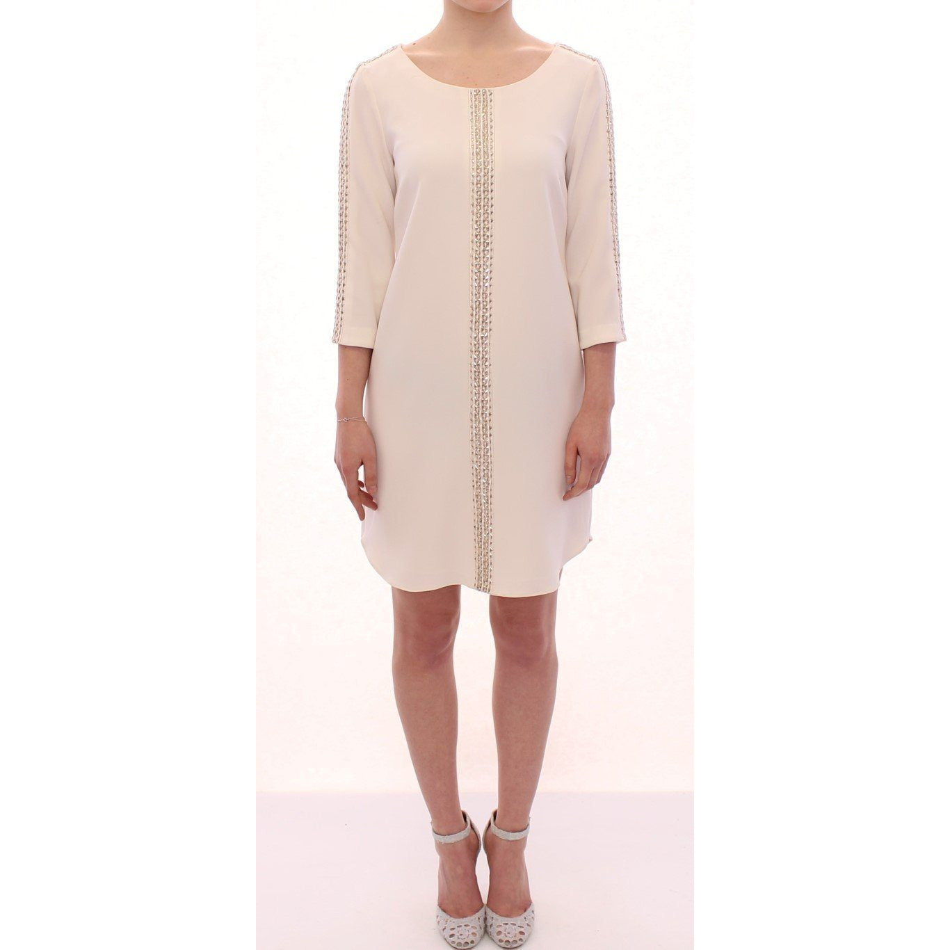 White Cream Studded Tunic Dress SACHIN & BABI