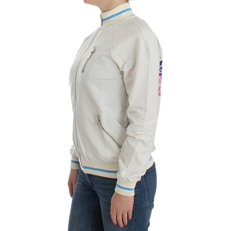 White Mock Zip Cardigan Sweatshirt Sweater