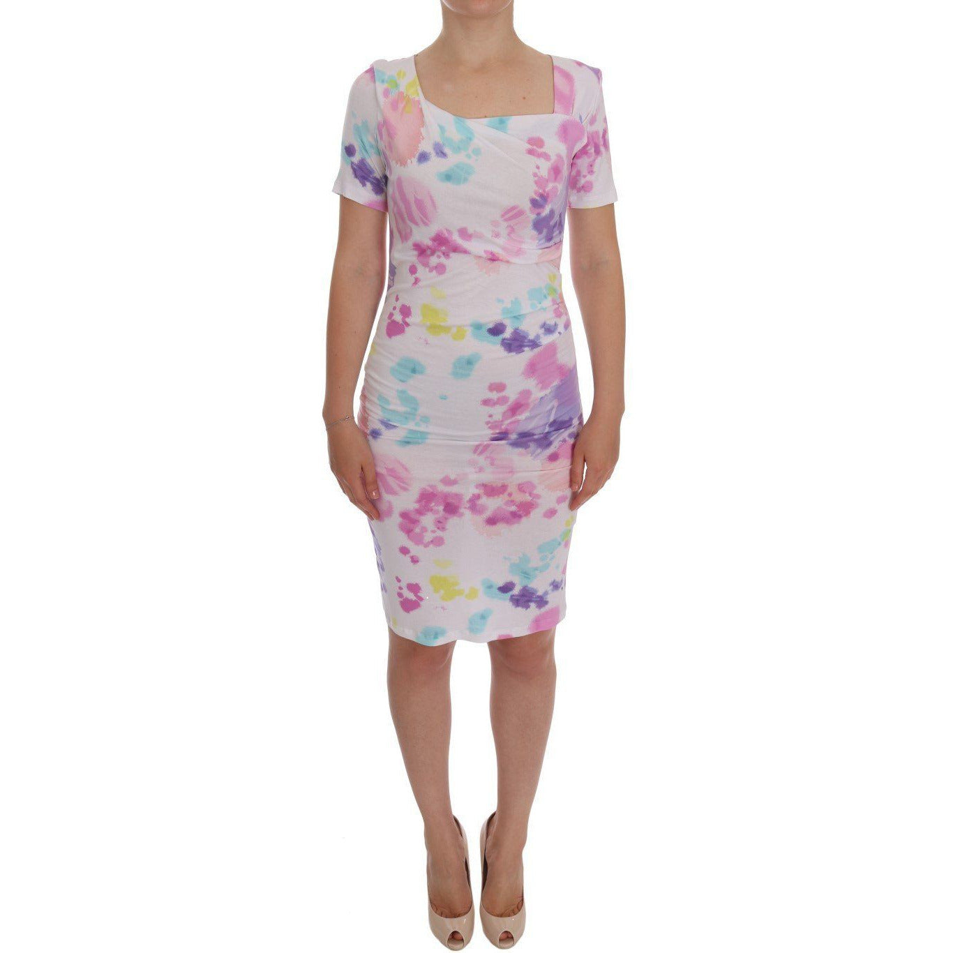 White Printed Pencil Sheath Dress Roccobarocco