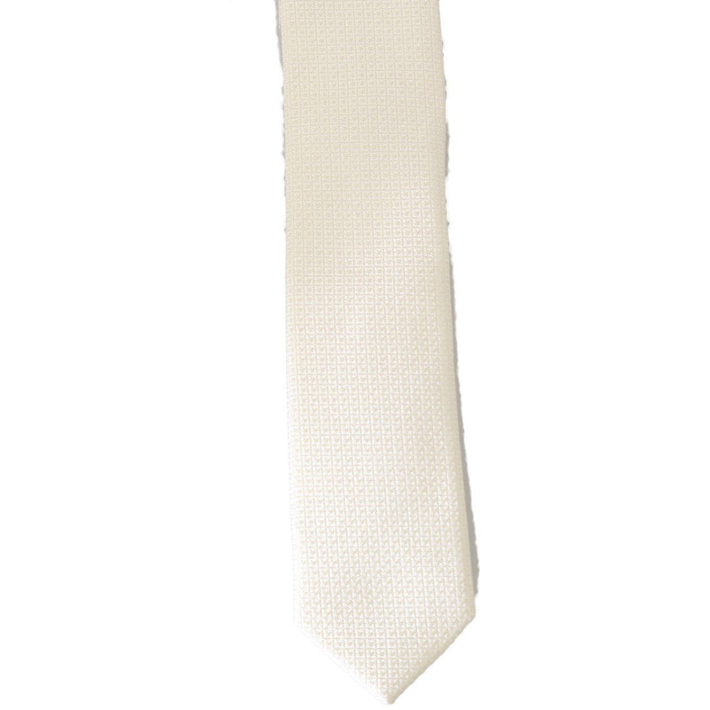 White Silk Patterned Skinny Tie Dolce & Gabbana