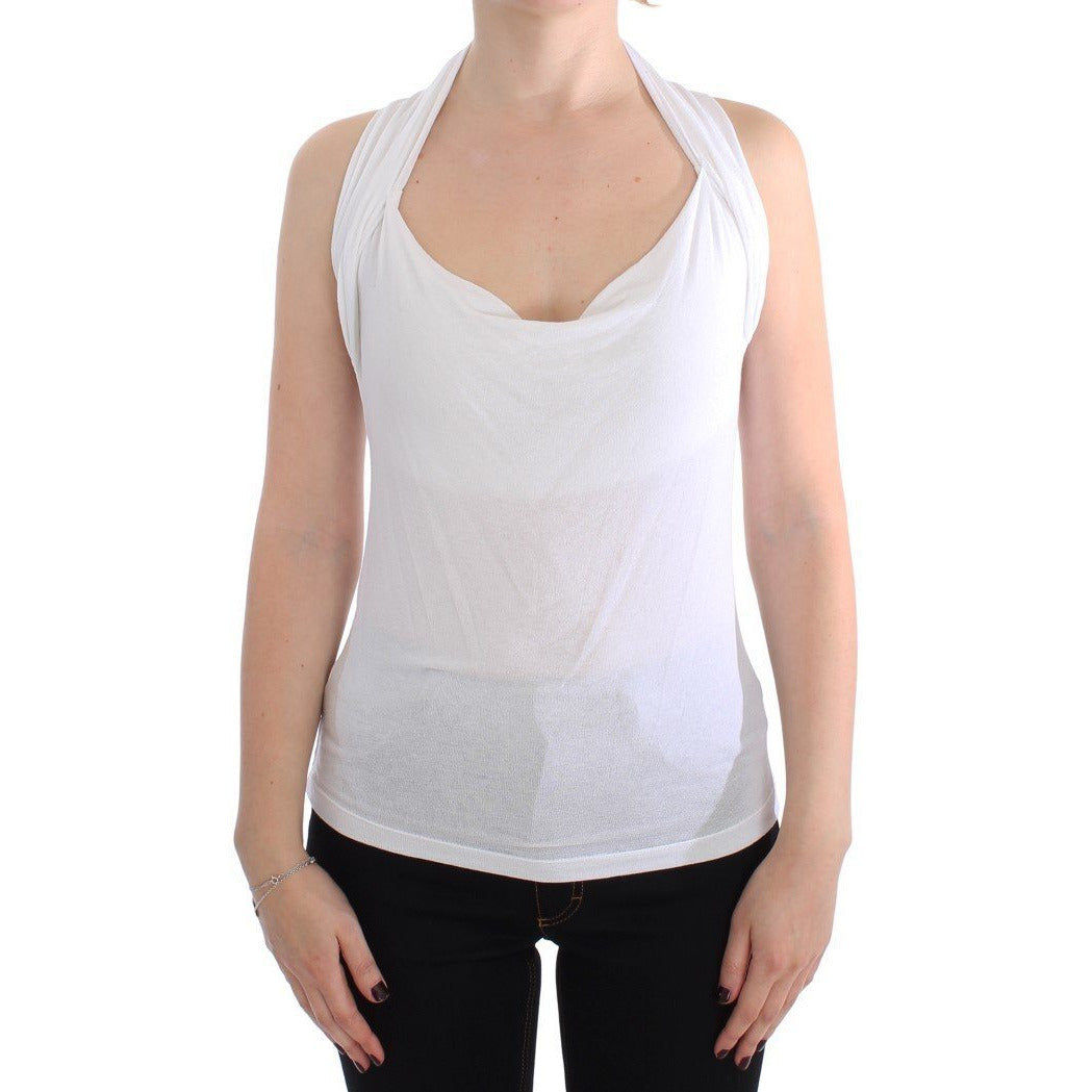 White Stretch Sleeveless Blouse PLEIN SUD