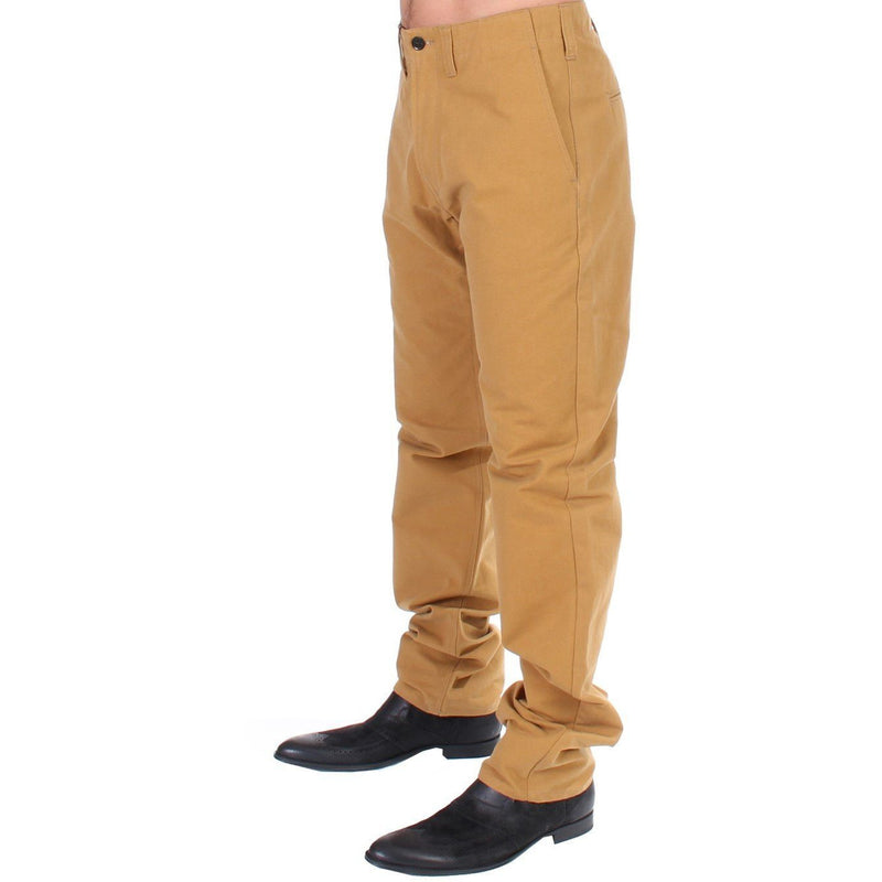 Yellow Cotton Straight Fit Chinos GF Ferre