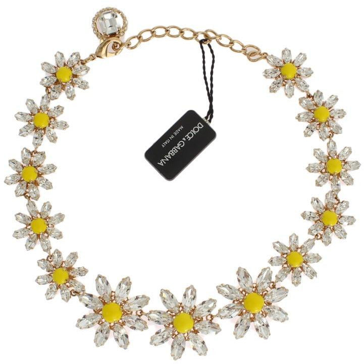 Yellow Sunflower Crystal Statement Necklace Dolce & Gabbana