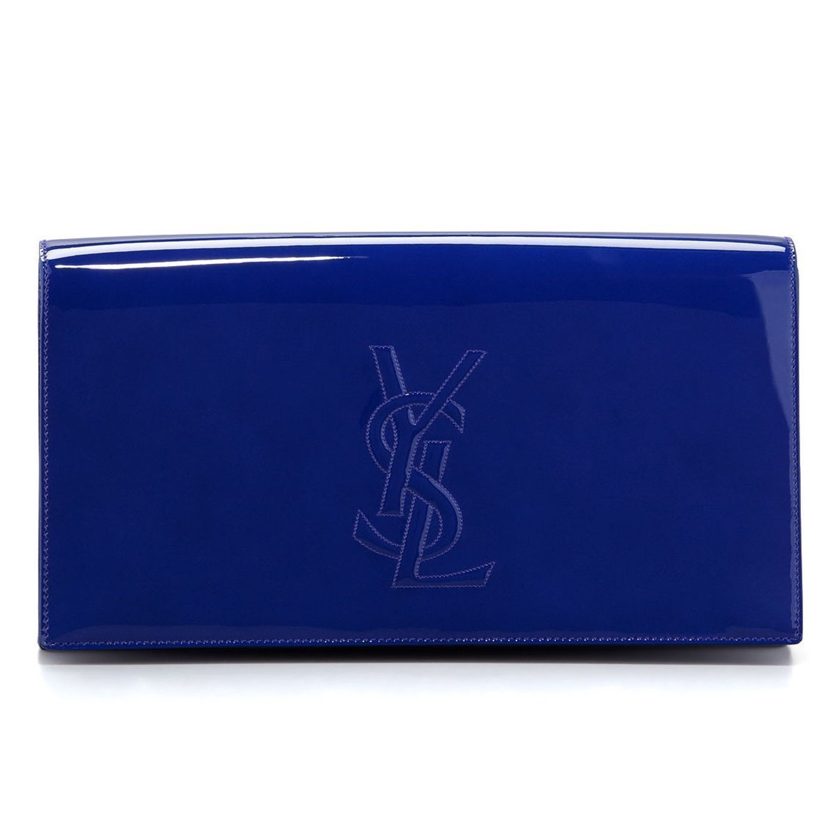 YSL Saint Laurent Belle Du Jour Neon Blue Patent Leather Clutch Handbag 361120