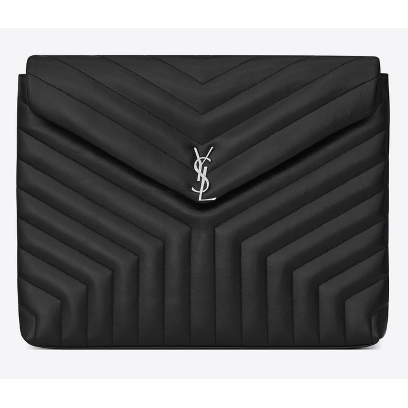 YSL Saint Laurent LouLou Document Holder Monogramme Vitello Piumotto Black Leather 483236 Handbags Saint Laurent