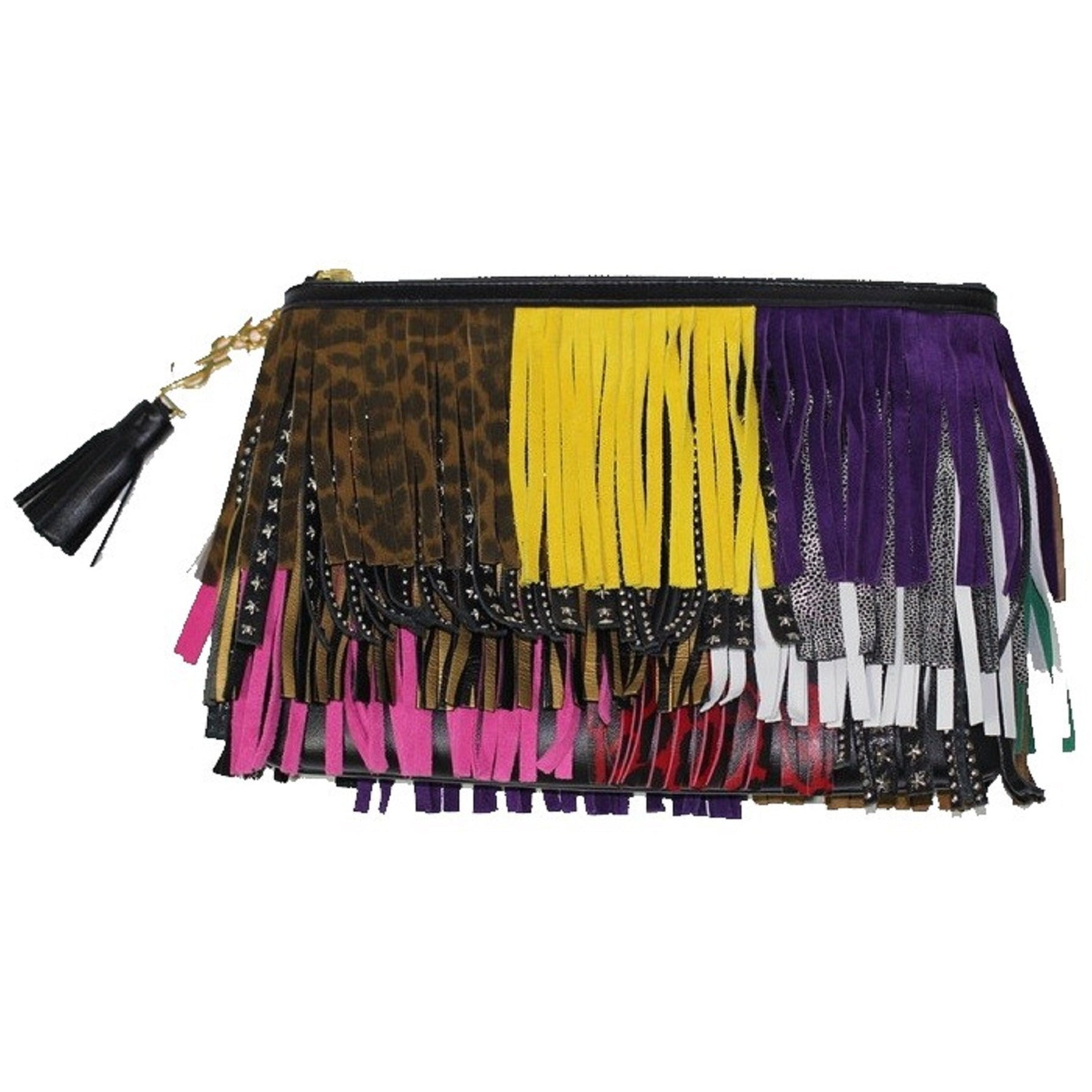 YSL Saint Laurent Pouch New Joulie Multicolor Fringes 403418 CWU21