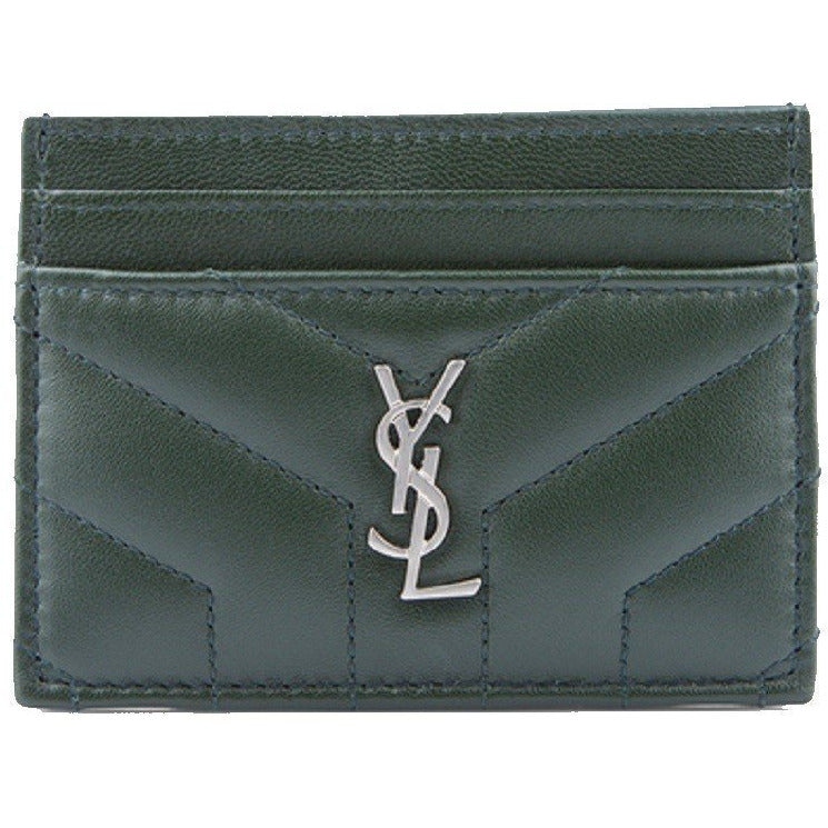YSL Saint Laurent Silver logo Monogram Green Card Holder 504958