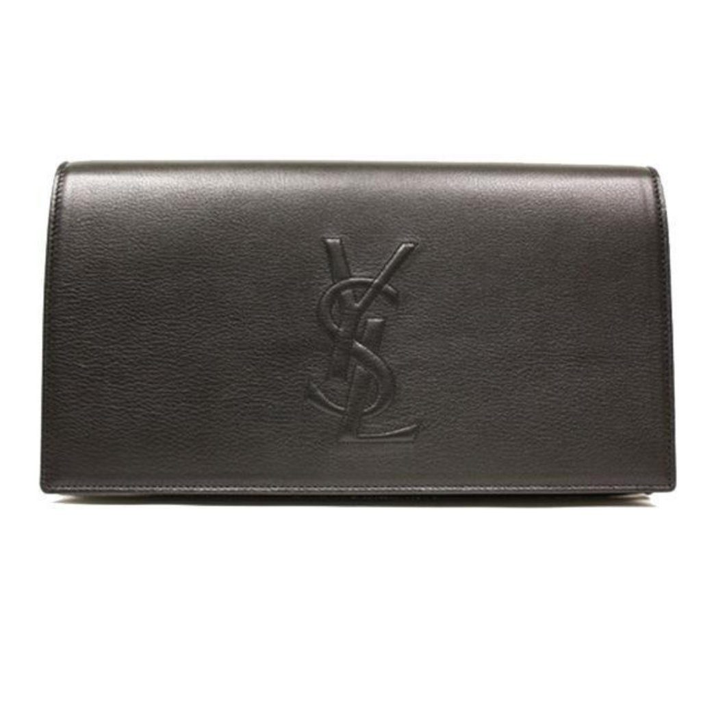 YSL Yves Saint Laurent Black Leather Large Belle de Jour Clutch Bag Handbag 361120