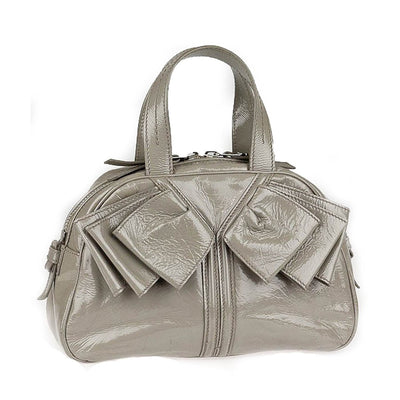 Yves Saint Laurent Women's Obi Bow Grey Patent Leather Handbag 220177 Handbags Saint Laurent Default Title