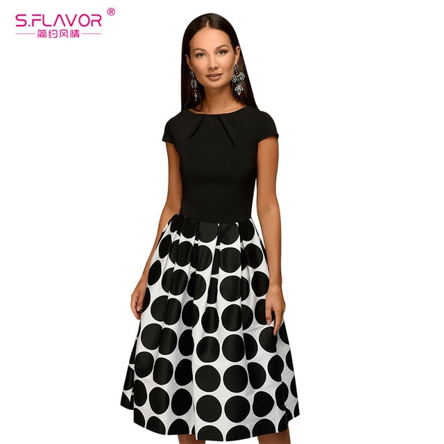 c28ac6d07bc7b S.FLAVOR Vintage women wave point dress Hot Sale