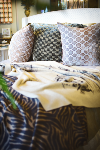 A touch of animal print surfaces throughout the collection
