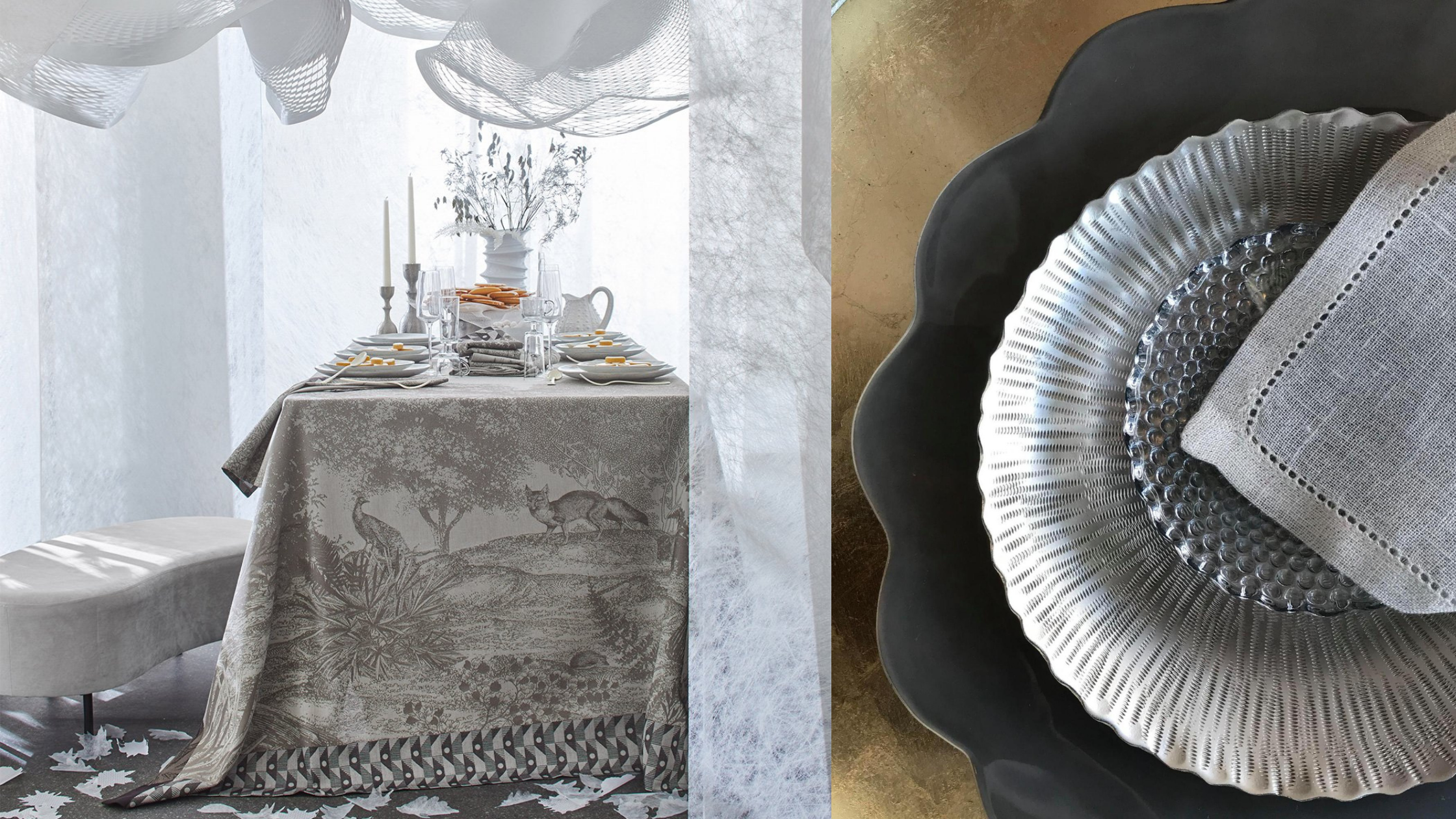Le Jacquard Francais Foret Enchantee tablecloth and tablesetting