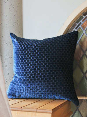 "Velvet Dots 20"" Cobalt Black Pillow"