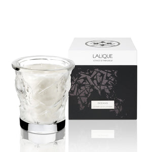 Lalique Crystal - Oceans Candle Vase with Gift Box