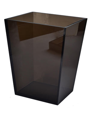Lucite Smoked Ice wastebasket