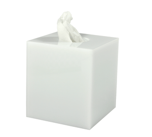 Lucite White Ice boutique tissue holder