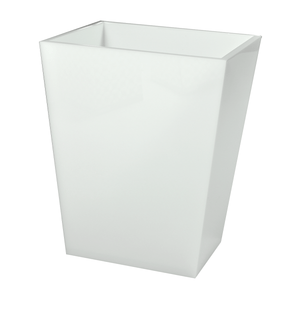 Lucite White Ice wastebasket