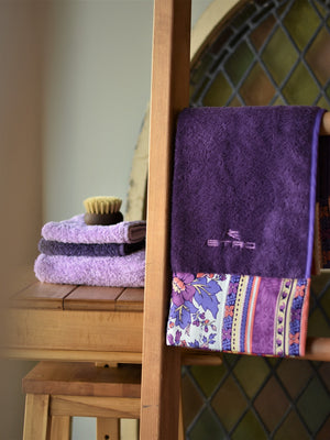 ETRO Purple Sateen Border Towel