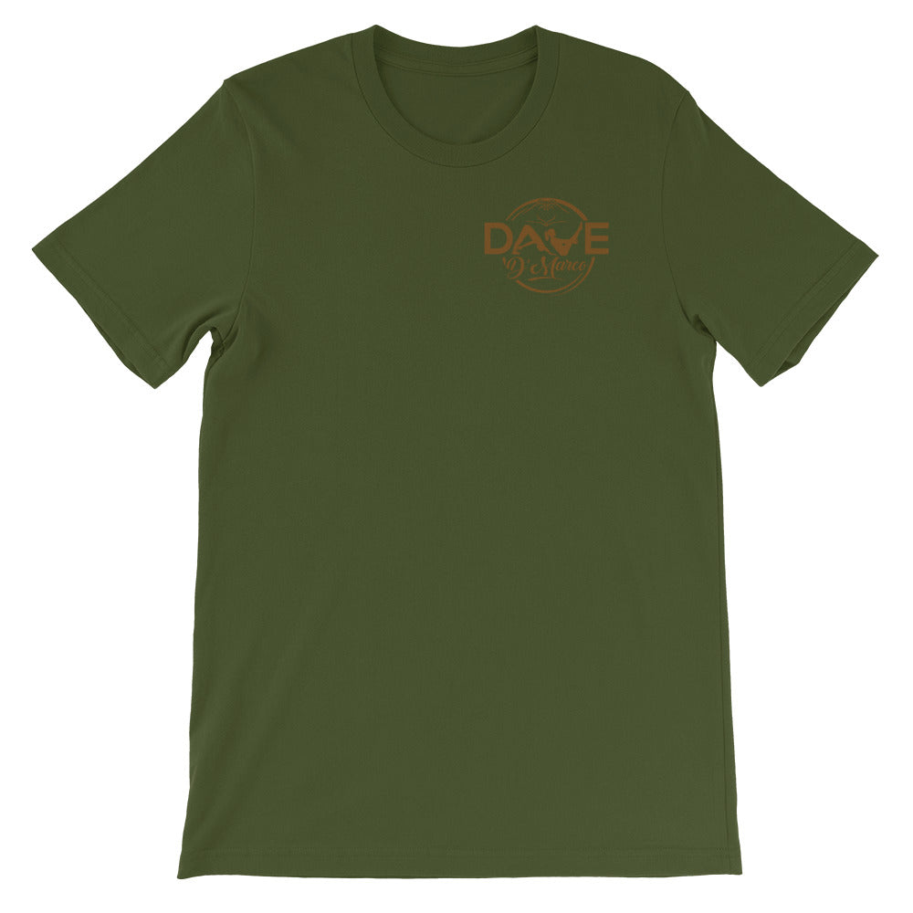 Short-Sleeve Unisex T-Shirt- Brown/wheat  Logo - Dave D'Marco Clothing