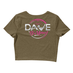 Jersey Short Sleeved Cropped T-Shirt - Metallic Silver & Pink Logo - Dave D'Marco Clothing