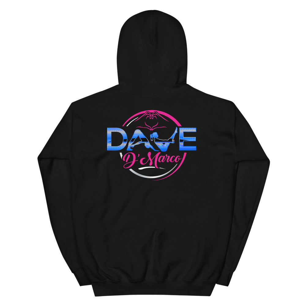 Hooded Sweatshirt - Pink & Teal Logo - Dave D'Marco Clothing
