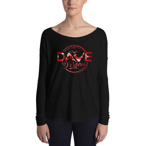 Women's Relaxed Long Sleeve Tee - Red Diamond Logo - Dave D'Marco Clothing
