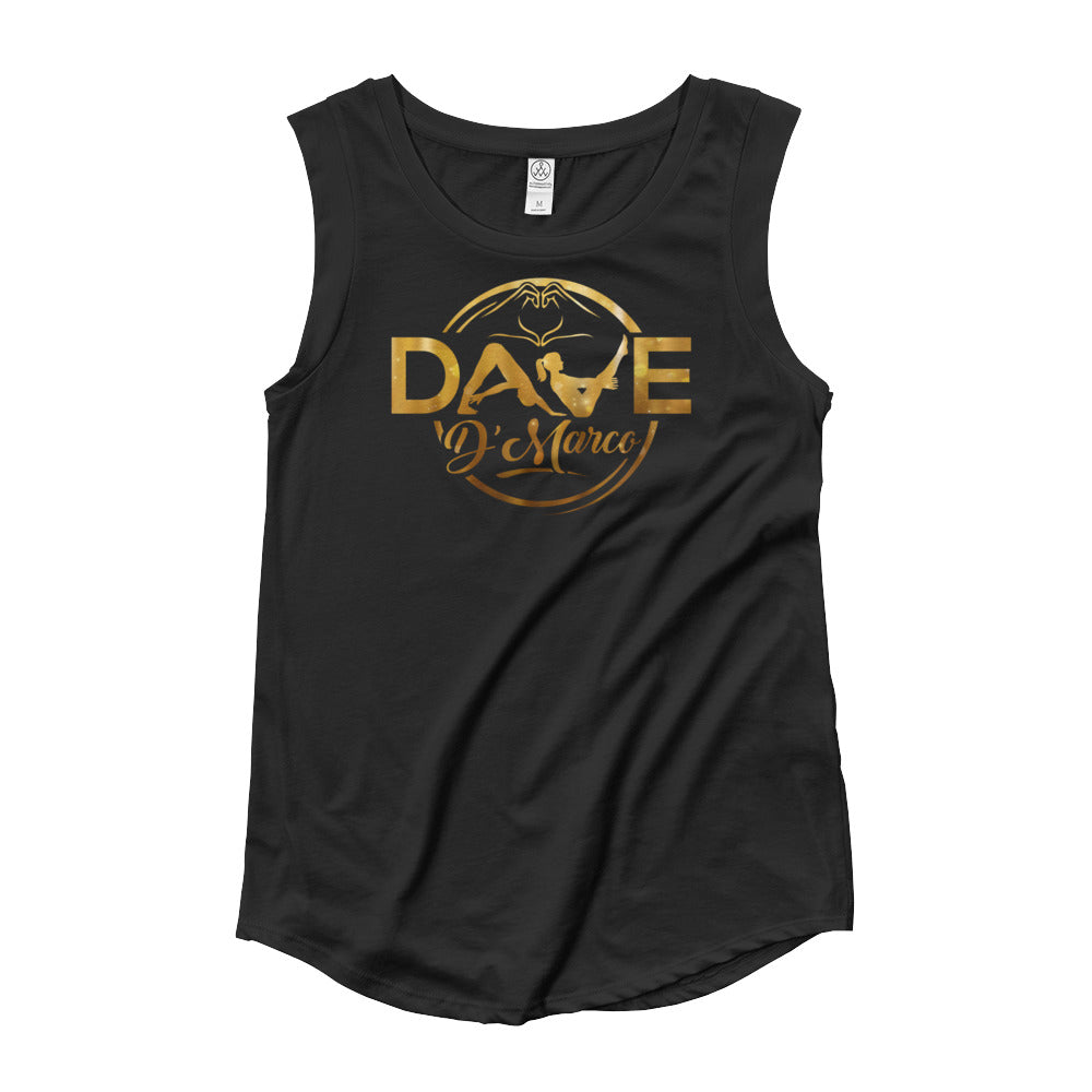 Ladies' Cap Sleeve T-Shirt - Gold Logo - Dave D'Marco Clothing
