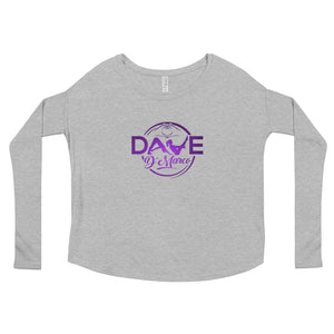 Women's Relaxed Long Sleeve Tee - Amethyst Logo - Dave D'Marco Clothing
