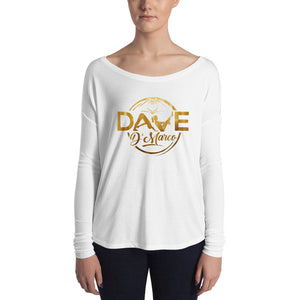 Women's Relaxed Long Sleeve Tee - Gold Logo - Dave D'Marco Clothing