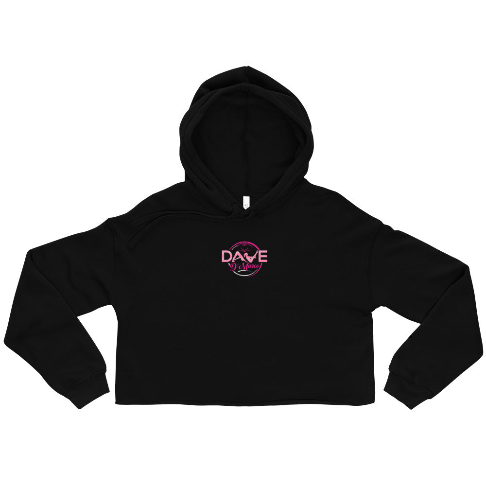 Women's Fleece Crop Hoodie - Mixed Pink Logo - Dave D'Marco Clothing