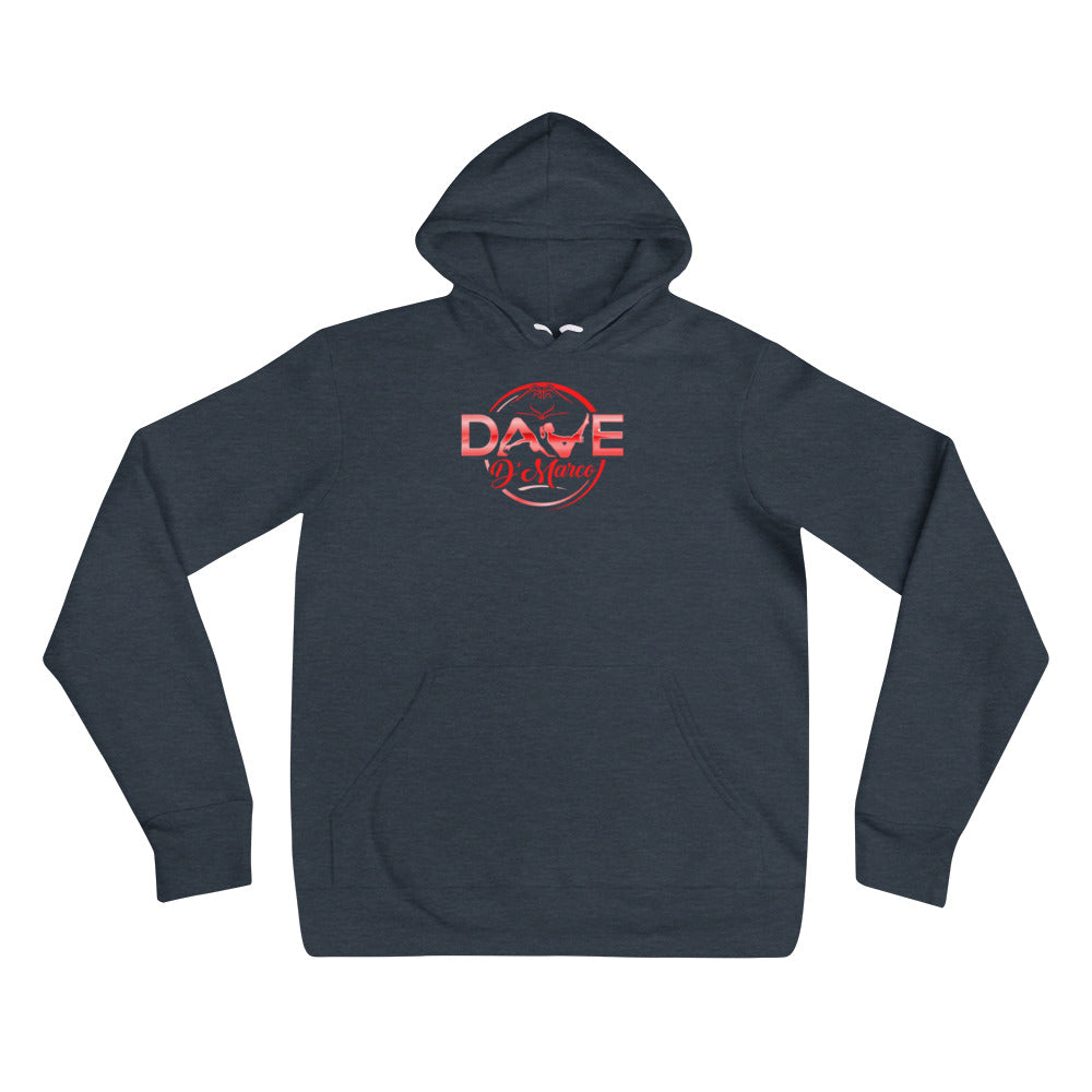 Unisex hoodie- red logo - Dave D'Marco Clothing