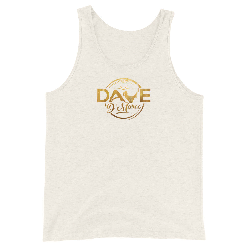 Unisex Tank Top-gold logo - Dave D'Marco Clothing