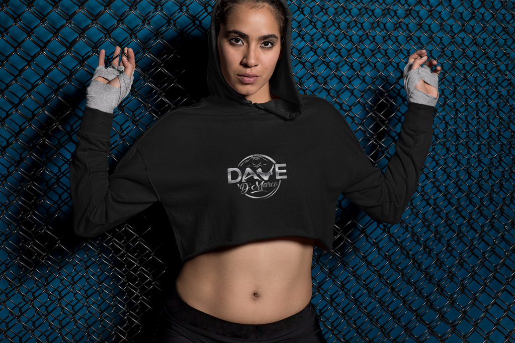 Women's Fleece Crop Hoodie - Metallic Silver Logo (Front & Back)