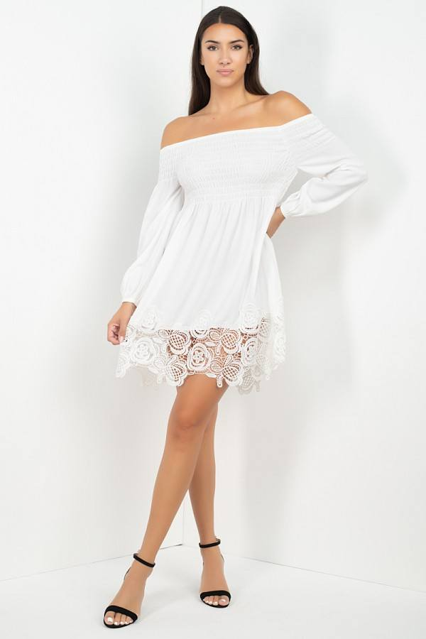 White smocked off the shoulder lace dress